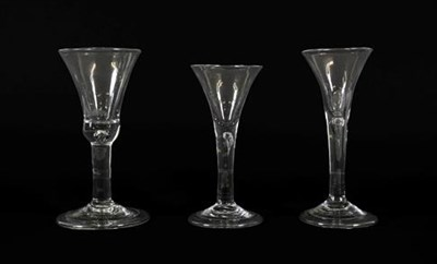 Lot 15 - A Wine Glass, circa 1740, the bell shaped bowl with basal air tear on a plain stem and folded foot
