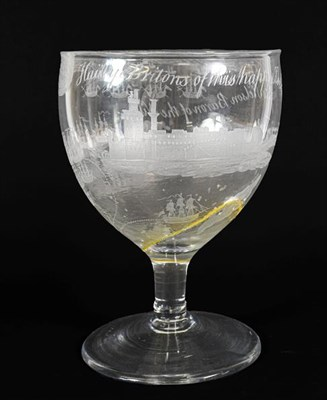 Lot 23 - A Nelson Commemorative Massive Rummer, circa 1800, the ovoid bowl engraved with scenes from the...