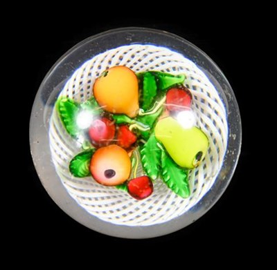 Lot 26 - A St Louis Fruit Paperweight, circa 1850, as three pears and four cherries amongst leaves on a...