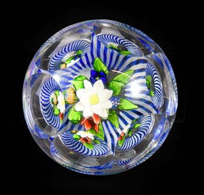 Lot 27 - A Baccaret Faceted Glass Upright Bouquet Paperweight, circa 1850, the three dimensional posy over a