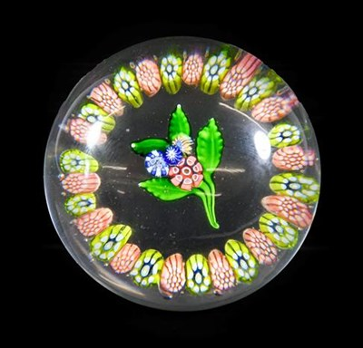 Lot 29 - A St Louis Garlanded Bouquet Paperweight, circa 1850, with central nosegay within a yellow and pink