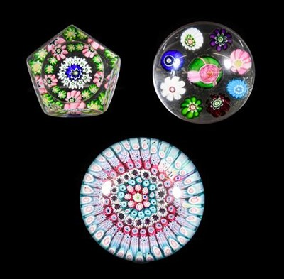 Lot 30 - A Clichy Miniature Spaced Millefiori Glass Paperweight, circa 1850, centred by a Clichy rose within