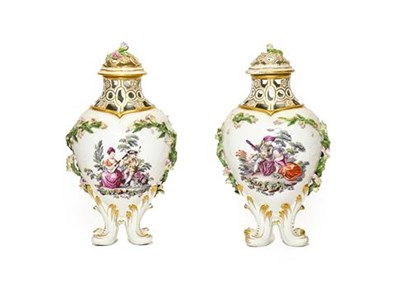 Lot 37 - A Pair of Chelsea Gold Anchor Period Porcelain Baluster Vases and Covers, circa 1760, of lobed form