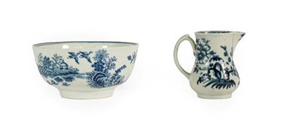 Lot 39 - A Worcester Porcelain Bowl, circa 1775, printed in underglaze blue with the ''Fence'' pattern,...