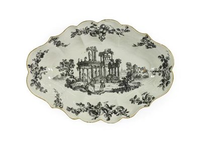 Lot 40 - A Worcester Porcelain Dessert Dish, circa 1770, of fluted oval form, printed en grisaille with...