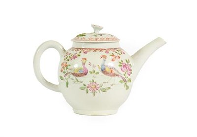 Lot 42 - A Lowestoft Porcelain Teapot and Cover, circa 1770, with floral moulded knop, painted in...