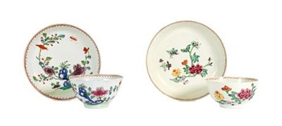Lot 44 - A Chaffers Liverpool Porcelain Tea Bowl and Saucer, circa 1760, painted with birds perched in...