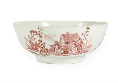 Lot 48 - A Christians Liverpool Porcelain Punch Bowl, circa 1770, printed in red with an armorial, the...