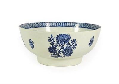 Lot 52 - A John Pennington Liverpool Porcelain Punch Bowl, circa 1790, printed in underglaze blue with a...