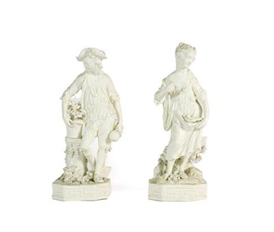 Lot 53 - A Pair of Derby Bisque Porcelain Figures of Earth and Water, circa 1775, from a set of The Elements