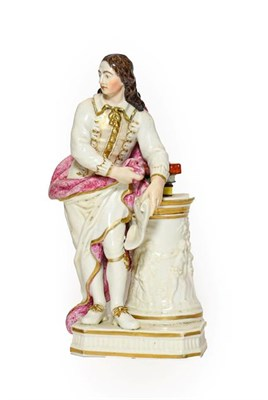 Lot 55 - A Derby Porcelain Figure of Milton, circa 1780, standing holding an inscribed scroll, a pile of...