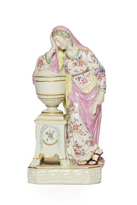 Lot 56 - A Derby Porcelain Figure of Andromache, circa 1780, beside an urn containing the ashes of...