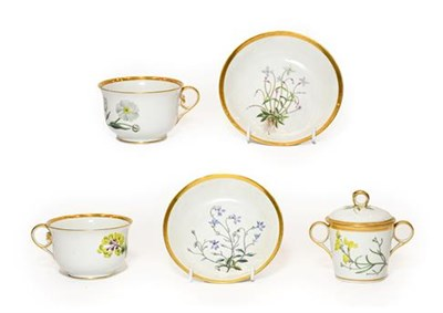 Lot 60 - A Pair of Chamberlains Worcester Botanical Breakfast Cups and Saucers, circa 1800, decorated...