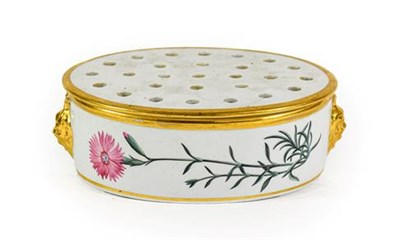 Lot 61 - A Chamberlains Worcester Porcelain Botanical Centrepiece and Pierced Cover, circa 1800, of oval...