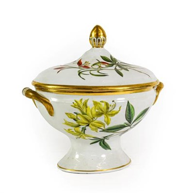 Lot 62 - A Chamberlains Worcester Porcelain Botanical Tureen and Cover, circa 1800, of oval form with...