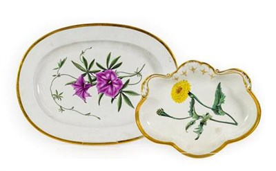 Lot 63 - A Chamberlains Worcester Porcelain Meat Platter, en suite with the previous lot, painted with...