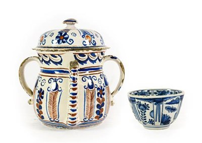 Lot 65 - An English Delft Posset Pot and Cover, London or Bristol, circa 1720, of baluster form with...