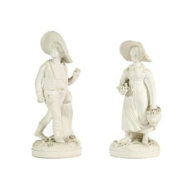 Lot 67 - A Pair of Rockingham Bisque Porcelain Figures of the Swiss Boy and Girl, circa 1830, both...