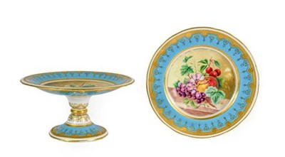 Lot 68 - A Minton Porcelain Tazza, circa 1870, painted with a still life of fruit on a marble shelf within a
