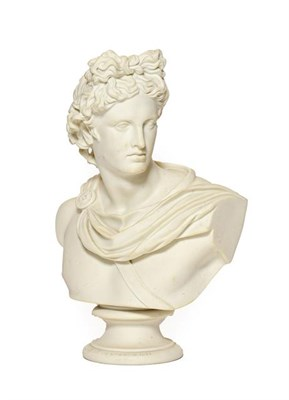 Lot 69 - A Parian Art Union Bust of the Apollo Belvedere, 1861 or later, on a circular socle, signed...