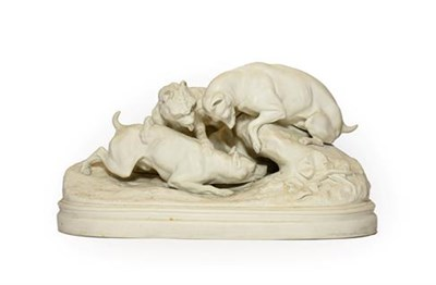 Lot 70 - A Parian Hunting Group, circa 1870, as three dogs on a rocky outcrop and oval base, 33cm wide