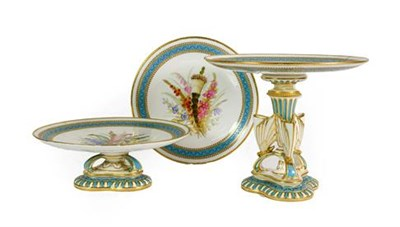 Lot 72 - A Royal Worcester Porcelain Dessert Service, 1876, painted with sprays of flowers within a...