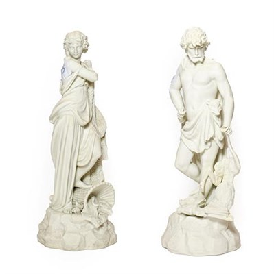 Lot 73 - A Pair of Parian Figures of LE CHASSE and LA PECHE, circa 1870, modelled as a loosely draped...