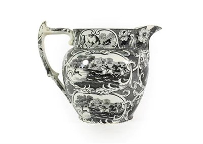 Lot 74 - A Pearlware Sporting Jug, circa 1820, printed with Hunt Nr Windsor, Fives Court and Cup at...