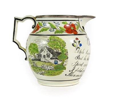 Lot 76 - A Pearlware Jug, circa 1820, inscribed James Holt Rochdale and with further verse flanked by...