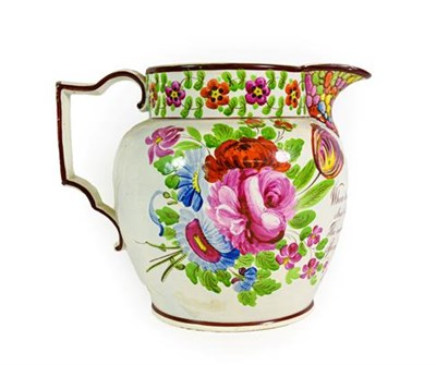 Lot 77 - A Pearlware Jug, dated 1828, of ovoid form, initialled JR over verse and dated June 27th 1828...