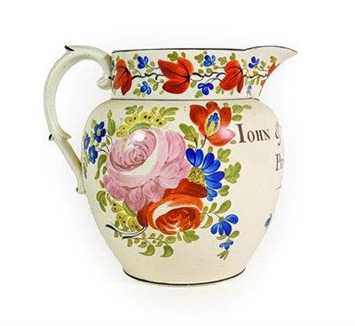 Lot 78 - A Pearlware Jug, dated 1819, of ovoid form, inscribed JOHN & SARAH YENON PEMBROKE 1819 within...