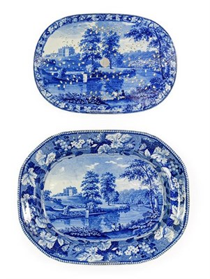 Lot 79 - A Staffordshire Pearlware Meat Platter and Drainer, circa 1820, printed in underglaze blue with the