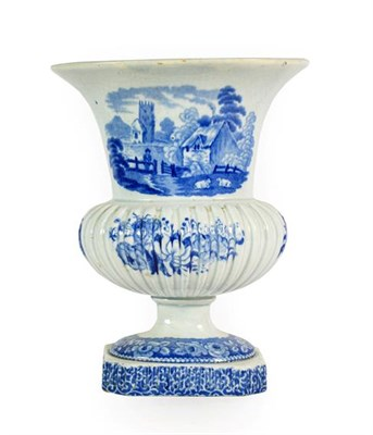 Lot 80 - A Staffordshire Pearlware Urn Shaped Vase, circa 1820, of oval section, printed in underglaze...