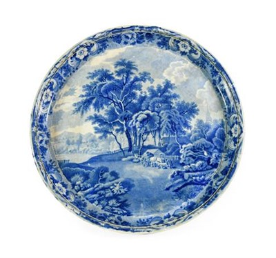Lot 81 - A Pearlware Cheese Stand, circa 1820, of circular form, printed in underglaze blue with a...