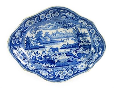 Lot 82 - A Pair of John Meir Pearlware Dishes, circa 1820, of lobed oval form, printed in underglaze...