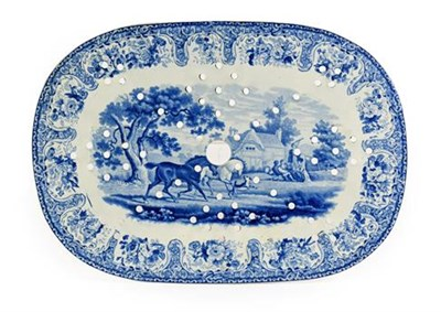 Lot 83 - A Staffordshire Pearlware Drainer, possibly John Denton Bagster, circa 1820, printed in...
