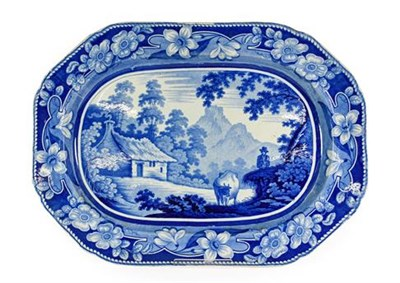 Lot 84 - A Staffordshire Pearlware Platter, circa 1820, printed in underglaze blue with the Cowman...