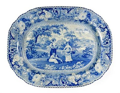 Lot 85 - A Staffordshire Pearlware Meat Platter, circa 1820, printed in underglaze blue with the...
