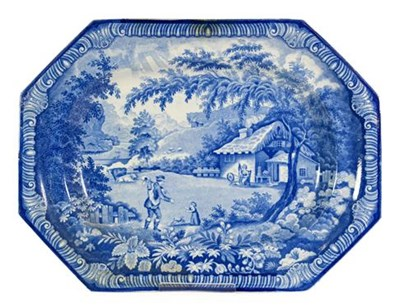 Lot 86 - A Brameld Pearlware Platter, circa 1820, printed in underglaze blue with the Returning Woodman...