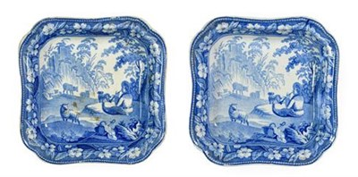 Lot 88 - A Pair of Staffordshire Pearlware Vegetable Tureens and Covers, circa 1820, of square form with...