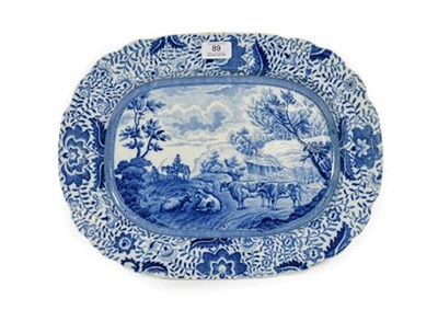 Lot 89 - A Pearlware Meat Platter from the Durham Ox Series, circa 1820, printed in underglaze blue with...