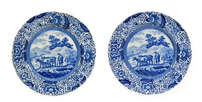 Lot 90 - A Pair of  Pearlware Durham Ox Series Plates, en suite to the previous lot, 21.5cm diameter
