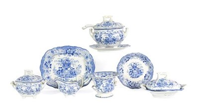 Lot 91 - A Staffordshire Pottery Miniature Dinner Service, possibly William Ridgeway, 1830-40, printed...