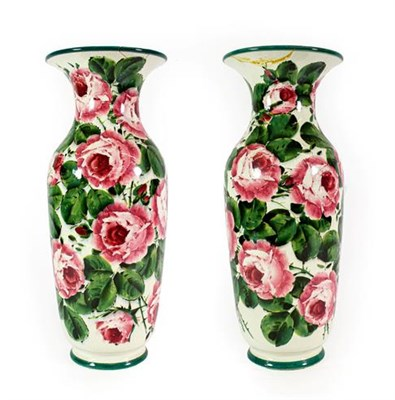 Lot 93 - A Pair of Wemyss Pottery Vases, early 20th century, of baluster form with flared necks, painted...