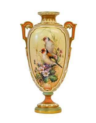 Lot 95 - A Royal Worcester Porcelain Vase, by Charles Baldwin, 1901, of baluster form with strap...