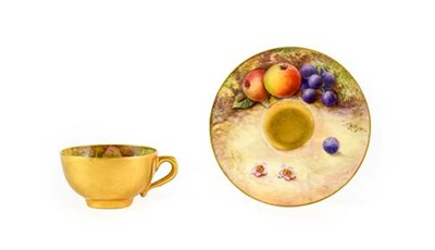 Lot 97 - A Royal Worcester Porcelain Miniature Coffee Cup and Saucer, by William Hart & Thomas Lockyer,...