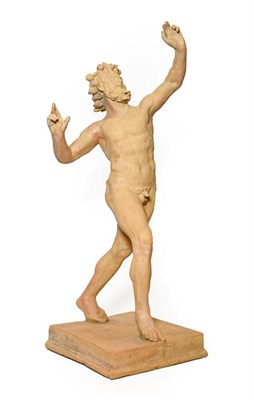 Lot 222 - After the Antique: A Terracotta Figure of the Dancing Faun, standing with arms raised, on a...