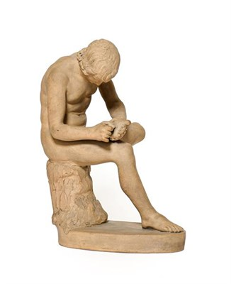 Lot 224 - Chiurazzi, after the Antique: A Terracotta Figure of Spinario, removing a thorn from his foot,...