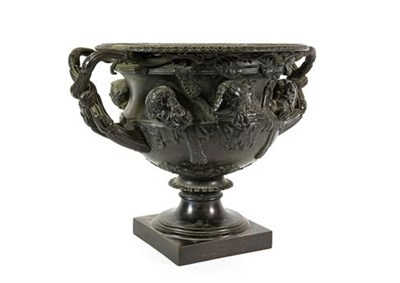 Lot 226 - After the Antique: A Bronze Warwick Vase, of typical form, on a square plinth, 34cm wide...