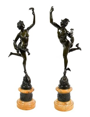 Lot 228 - After Giambologna (1529-1608): A Pair of Bronze Figures of Mercury and Fortuna, on Sienna...